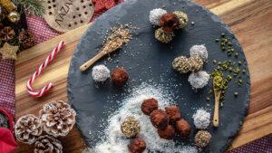 Vegane Trüffel-Pralinen mit Tahini und Rum