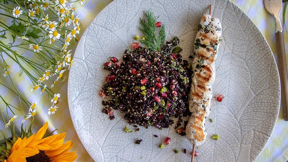 Venere-Reis-Salat mit Pouletspiessli