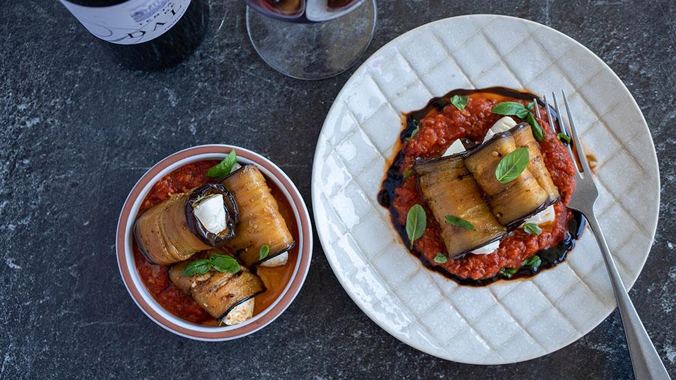 Auberginen-Involtini mit Mozzarella