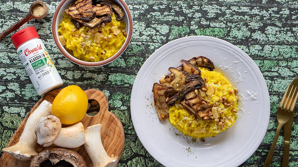Zitronen-Risotto mit Kräuter-Seitlingen