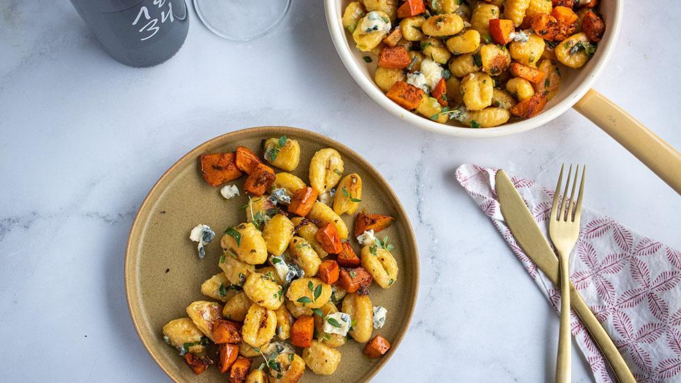 Herbst Gnocchi mit Kürbis an Roquefort